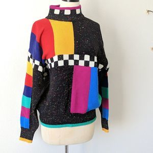 Vintage Sweater Color Block 1980s Wool Mock Neck M